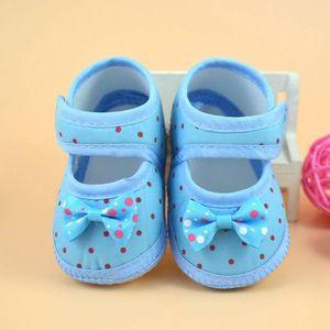 BOTTE Bottes bébé bowknot Chaussures Crib souple @Bleu