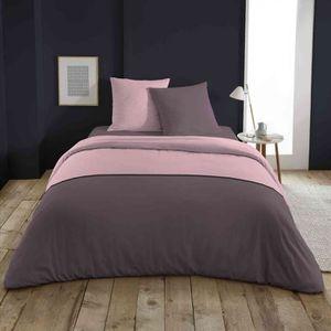 HOUSSE DE COUETTE ET TAIES Parure de lit bicolore gris/rose 140x200