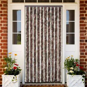 RIDEAU DE PORTE Rideau de porte chenille brun et beige 90 x 220 cm