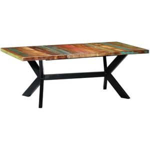 TABLE À MANGER SEULE vidaXL Table à dîner 200x100x75 cm Bois de récupér