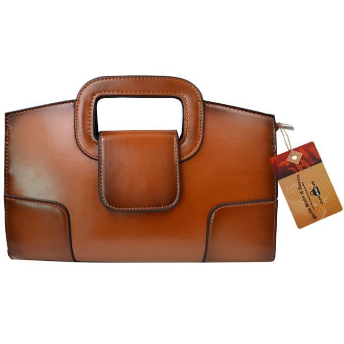 Zlmbagus Vintage Flap fourre-tout Satchel Sacs à main Pu Sac à bandoulière en cuir dembrayage DAZRR
