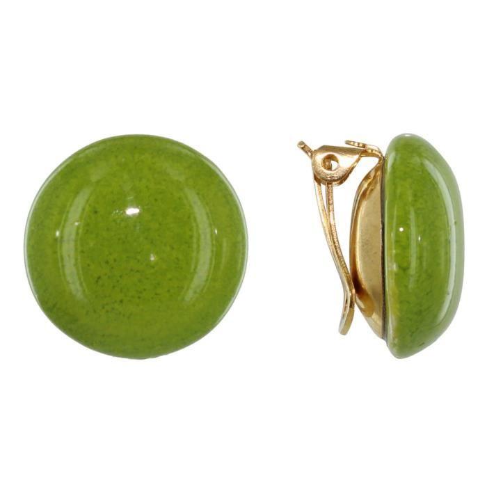 Les Poulettes Bijoux - Boucles dOreilles Clip Métal Doré Champignon Céramique - Vert