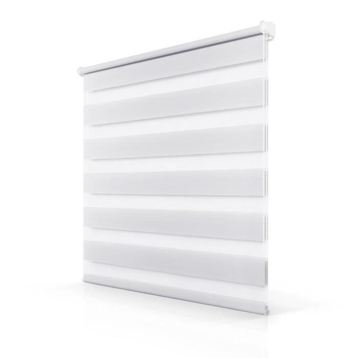 Store enrouleur tamisant 80x230cm Blanc Zebra Rideau de fenêtre anti ...