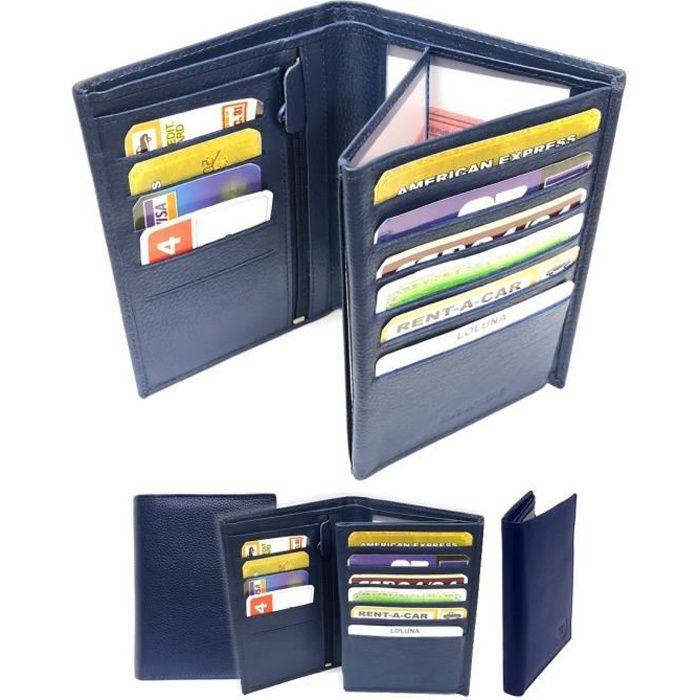sélection premium 8231f e9062 LOLUNA® Grand portefeuille homme cuir véritable 4 volets pour carte grise,  permis, identité, cartes, billet et monnaie - Bleu marine