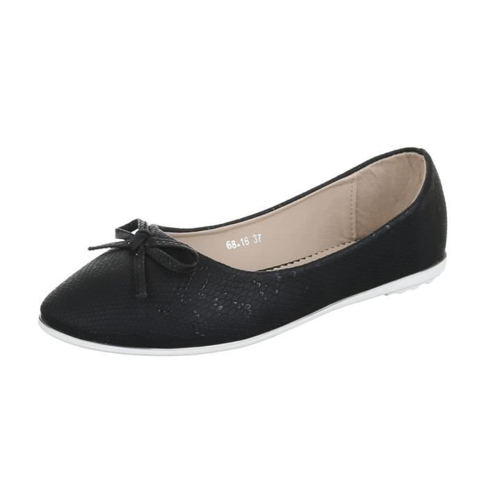 femme ballerine chaussure flâneurs mocassin Glisser surnœud noir ye2J6gykgO
