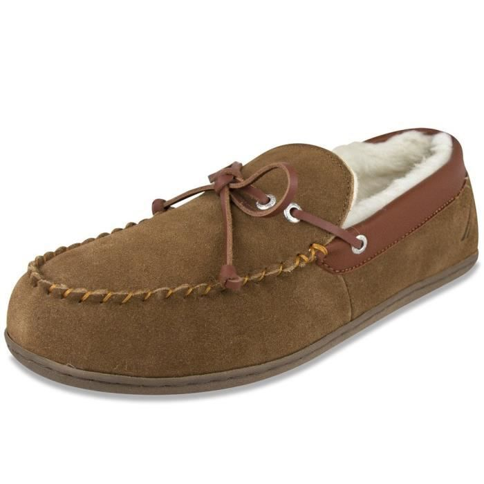 Nautica Forestay Slippers, Shearling And Suede Camper Moccasin Comfort Slip-on Bedroom Shoes TQROP Taille-XL