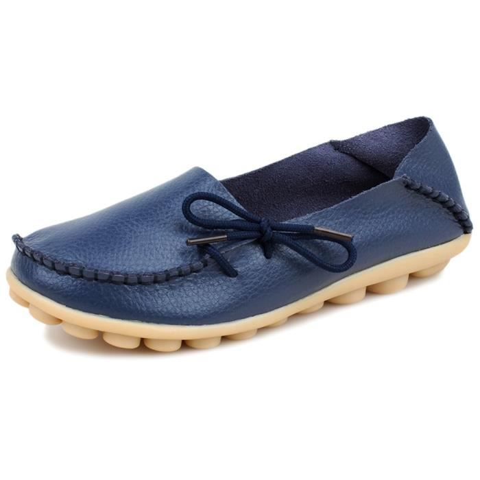 Souliers simple en cuir Chaussures plates ZKPOC Taille-37 1-2