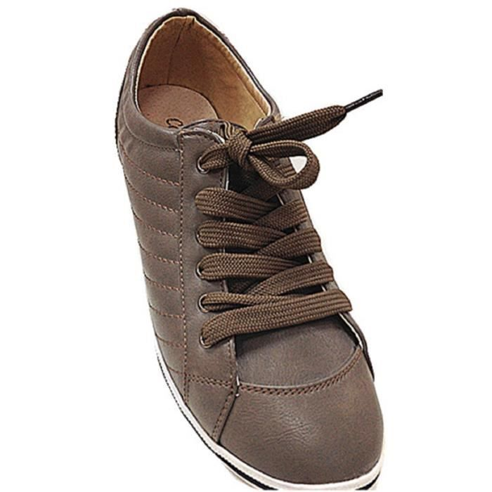 Chaussures 02206 Mode Taupe Fille Fashionfolie888 Hq Baskets Femmes Lacets xqwEa6
