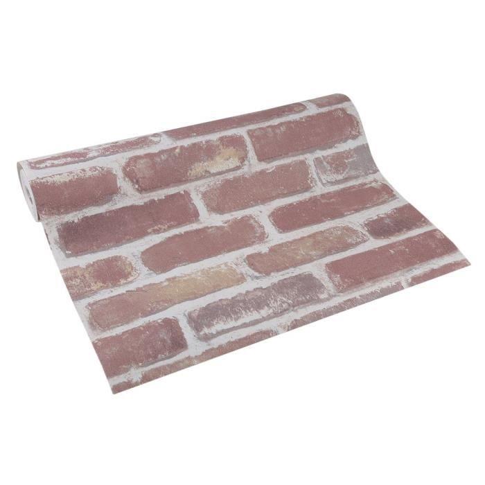 Papier Peint Industrielle Brique Rouge 53cm 10m Pvc Style Loft