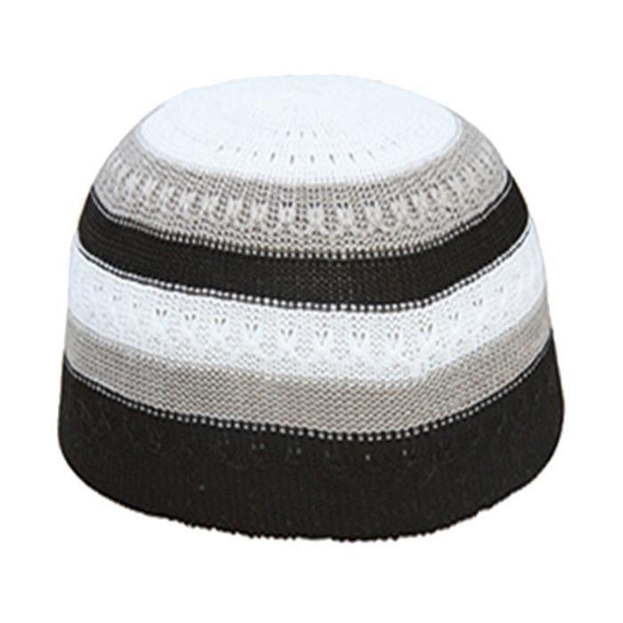 Hommes musulman islamique bonnet de prière couleur bloc en plein air crâne  chapeau Topi Beanie Headwear noir