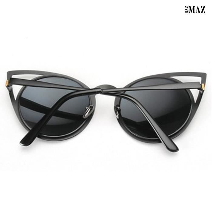 Brand Cat Eye Metal Cut-out Fashion Frame Round Sun-glasses With Mirror Flash Lens H6GVN