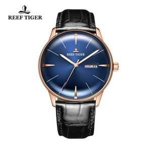 MONTRE Reef Tiger Or rose Robe Bleu montres pour homme ét