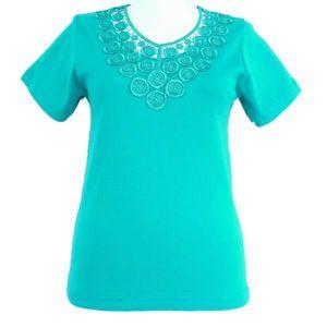 T-shirt femme dentelle - BLEU CIEL 3 Turquoise Bleu - Achat   Vente ... 8a073c2ecfa4