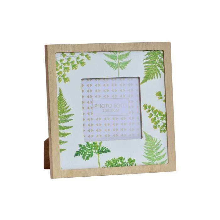 Cadre photo Tropical en bois - 18 x 18 cm - Dimensions photo 10 x 10 cm
