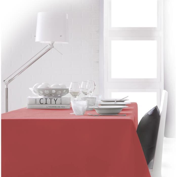 Nappe rectangulaire - Coloris : Orange Corail - Composition : 100% polyester - Dimensions : 140 x 200cm - UnieNAPPE DE TABLE