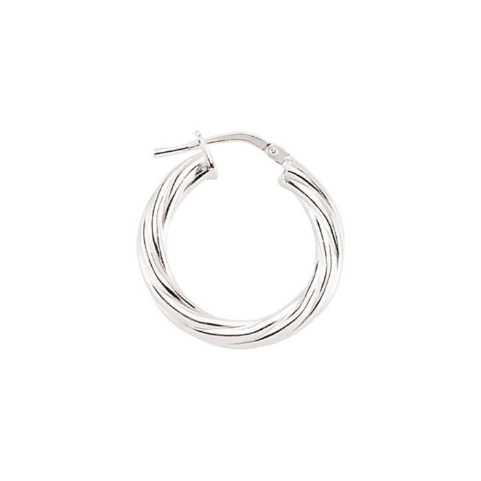 Jewelco London Plaqué Rhodium Argent Sterling tordu cerceau Boucle Oreilles 1.6cm 3mm