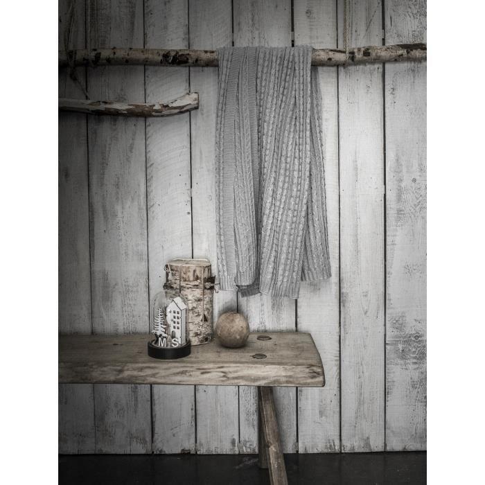 COUVERTURE - PLAID TODAY Plaid tricot Chalet - 125 x 150 cm - Gris cl
