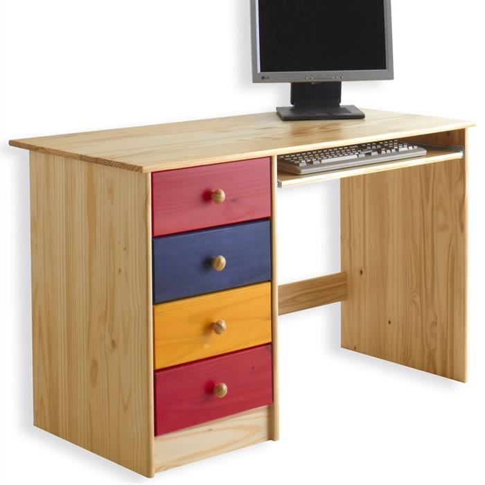 bureau enfant malte 4 tiroirs lasur multicolore achat. Black Bedroom Furniture Sets. Home Design Ideas