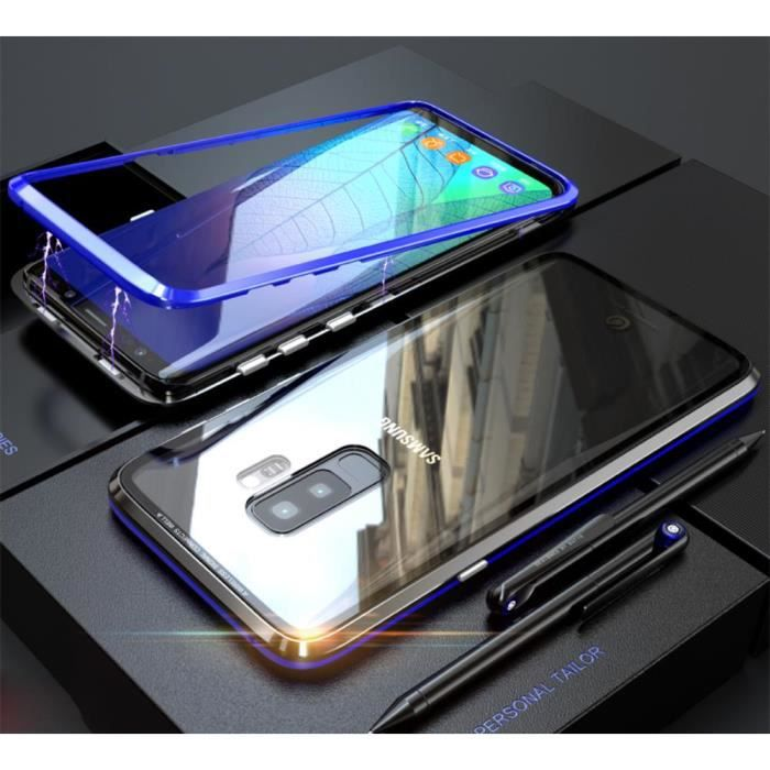 Samsung Galaxy S9 Plus Coque,Luxury Absorption magnétique Pare-Chocs métal  Antichoc étui arrière Tempered Glass -bleu Noir 927f82ad81d5