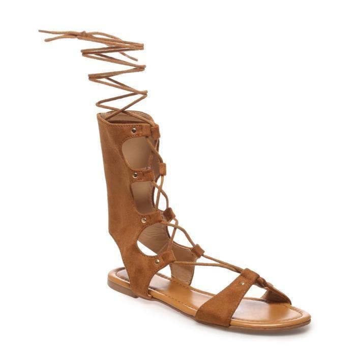 435ed8442f9a7e SANDALE - NU-PIEDS La Modeuse - Sandales plates femme avec lacets
