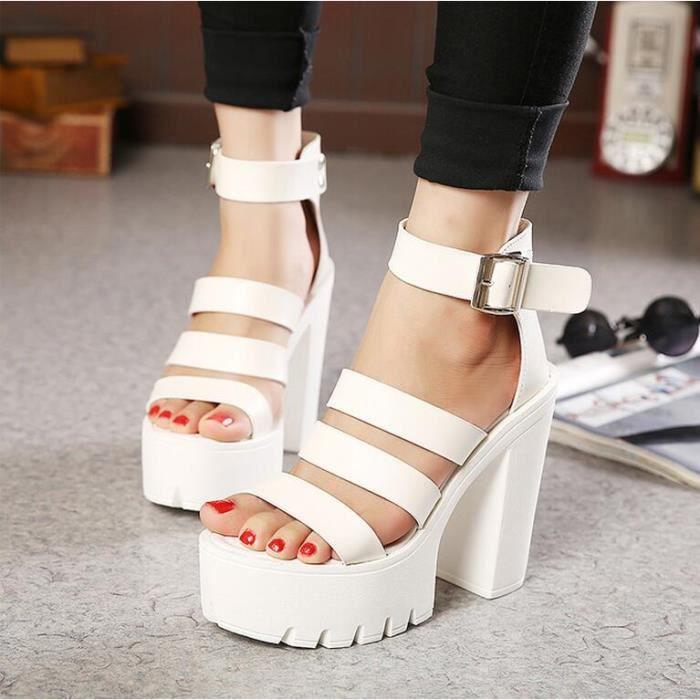 Des sandales Femmes Solide Ouvrir à Blanc A3oqzDZ