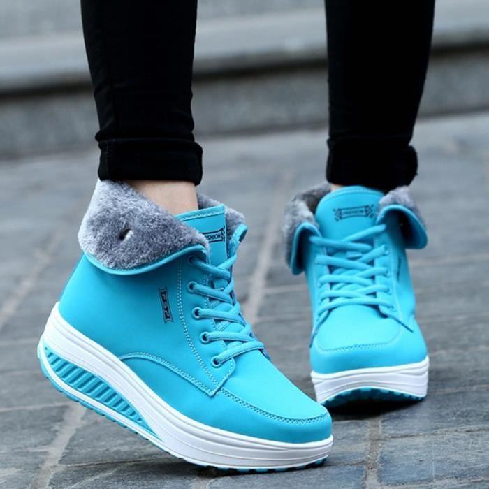 Botte Mixte Mesdames coréenne style plate-forme chaudes bleu clair taille7