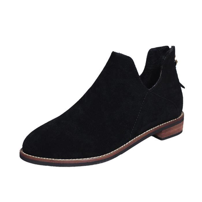 Femmes Boucle Dames Faux Zip Solide Bottes Bottes Bottines Martin Chaussures Noir ASD752