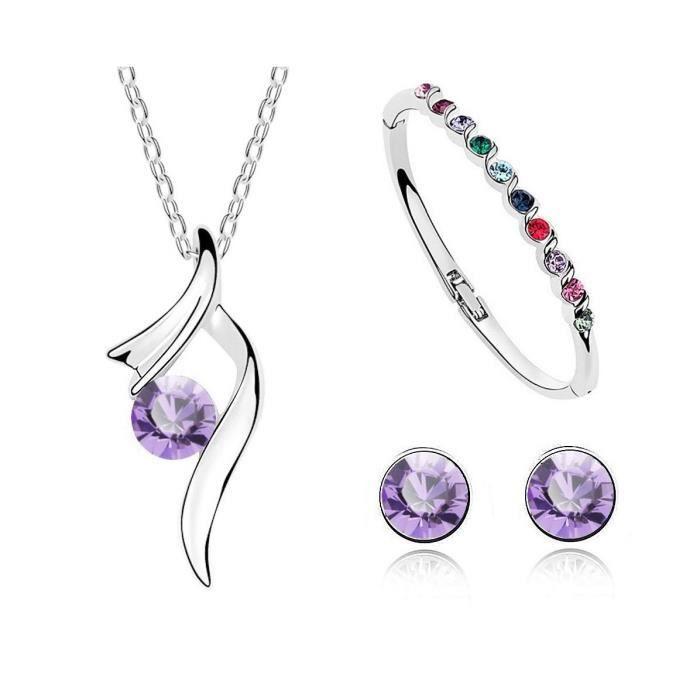 Parure cristal SWAROVSKI ELEMENTS avec bracelet plaqué or blanc couleur Violet
