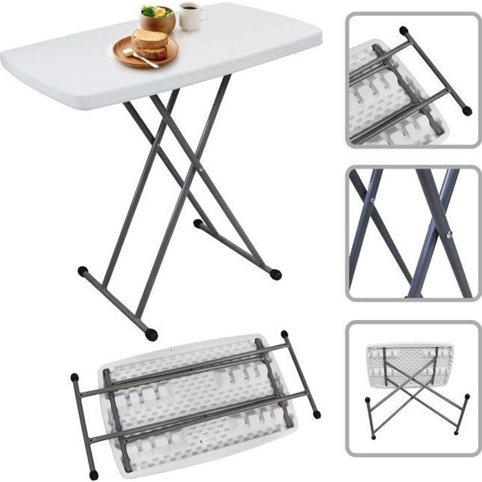 CmBlancMatériauHdpeAcier Pliable76 516374 Table X 50 Pliante AjustableCompacte Et vm0wN8n