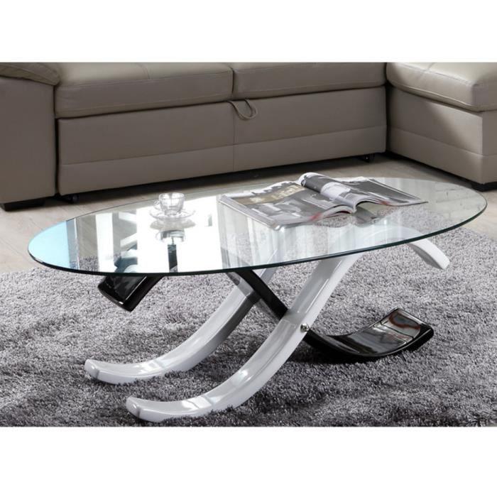 Basse Et Ii Verre Table Infinity Coloris Trempé Bicolore Noir SUVLqpzMG