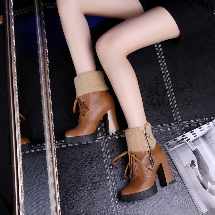 martin boots-Pur Heel Couleurpais de femmes avec zips lat raux Lacet Bottes VgJvLt