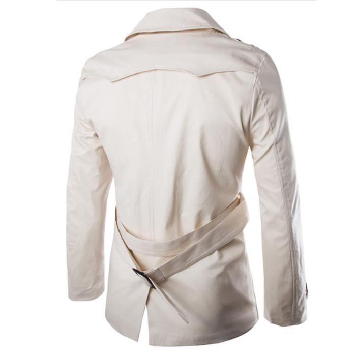 Long Boutons Outwear Manteau Trench Hommes Pardessus Slim Automne Hiver Chaud Veste Noir wFAqx