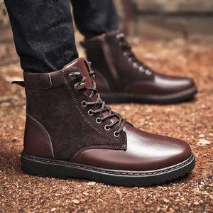 Garder au chaud Hommes Bottes d'hiver en cuir résistant à l'usure Souliers simples de travail Fahsion Bottes Hommesrouge43,rouge43