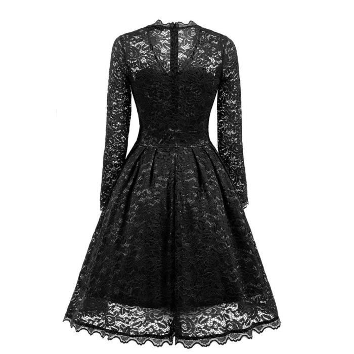 Womens Long Sleeve Lace Dresses Vintage V Neck Cocktail Party Bridesmaid Dress@Noir