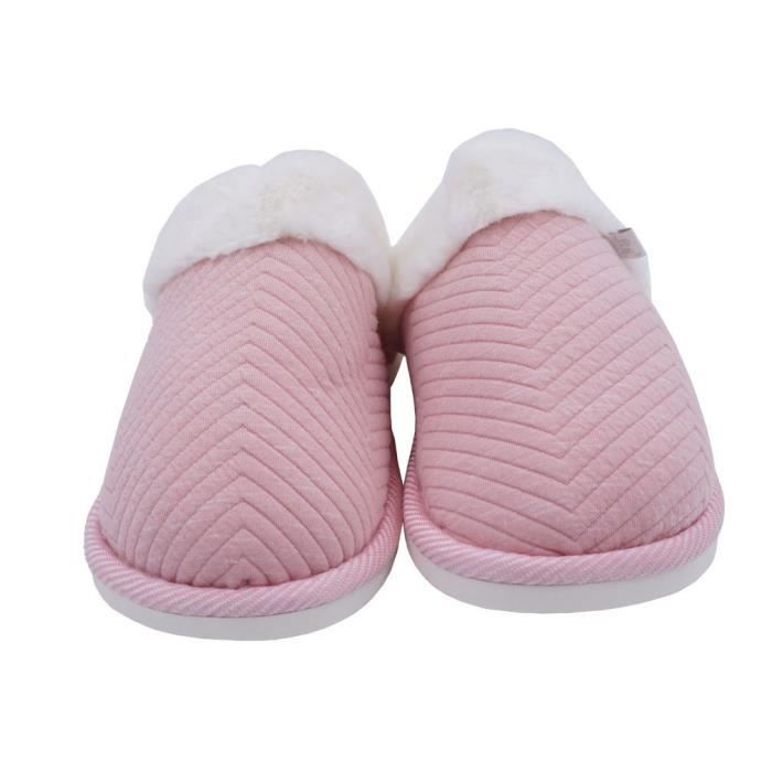 Cozy Embossed House Cotton Slippers Fur Lining Warm Winter Slippers VD14E Taille-44 1-2