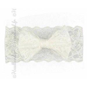 BANDEAU - SERRE-TÊTE Bandeau dentelle fille noeud blanc e7c83ab77cb