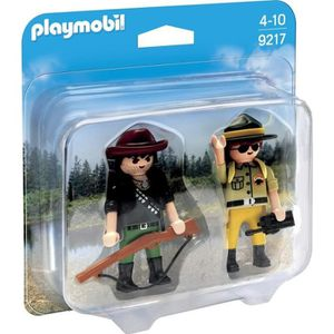 FIGURINE - PERSONNAGE PLAYMOBIL 9217 - Duo Garde Forestier et Braconnier