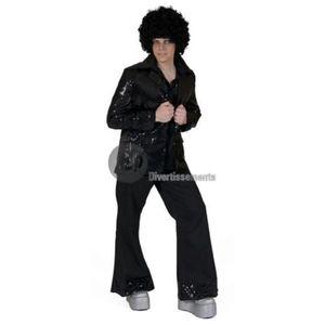DÉGUISEMENT - PANOPLIE Veste disco à paillettes noir homme taille xxl