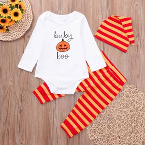 efad6bae1c3 Ensemble de vêtements Nouveau-né Bébé Romper Hauts Pumpkin Prin Pantalon ...
