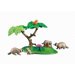 FIGURINE - PERSONNAGE PLAYMOBIL 6317 - Famille de ratons laveurs