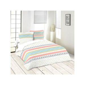 parure de lit graphique achat vente parure de lit graphique pas cher cdiscount. Black Bedroom Furniture Sets. Home Design Ideas
