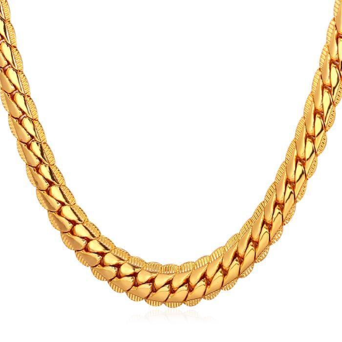 U7 Collier Chaîne-Maille Serpent-Plaqué Or Jaune-55cm de Long-Cool  Accessoire-Bijoux pour Homme-Femme 38cf1e8f5879