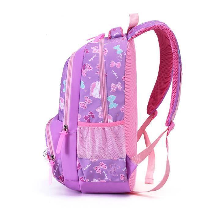 Backpack Sac à Dos Fille Enfant Nylon Cartable à Dos Scolaire Fille Ecole Loisir Voyage Primaire Maternelle 31*42*15cm Violet