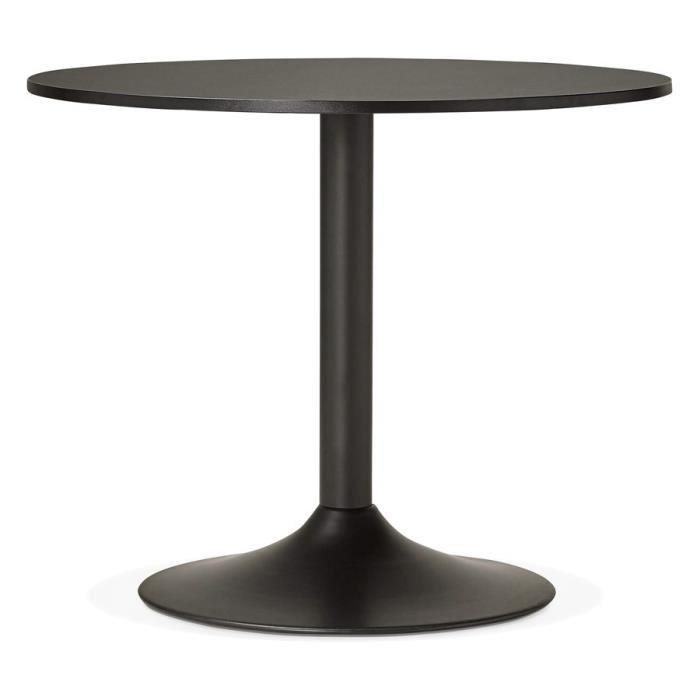 Petite Table De Bureau Diner Ronde Noire O 90cm Achat Vente