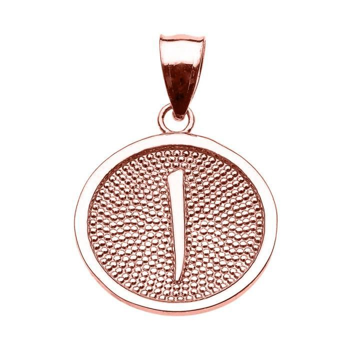 Collier Pendentif 14 ct Or Rose Arabique lettre Alif initiale Charm(Vient avec une chaîne de 45 cm) Allah islamique