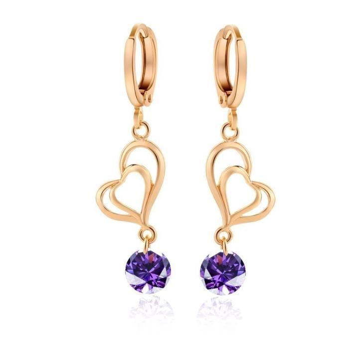 Boucles doreilles coeur zirconiums plaqué or couleur Violet
