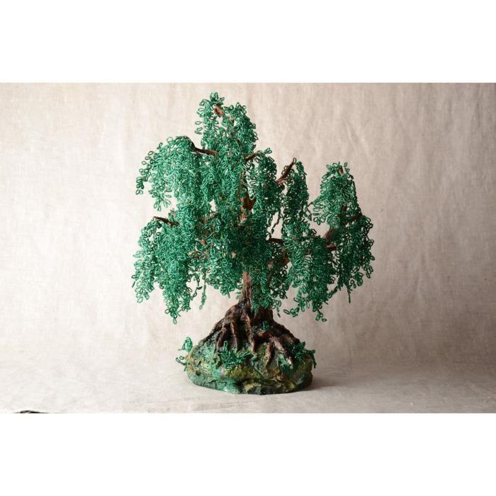 arbre en perles de rocaille fait main original vert d coration vieux saule achat vente fleur. Black Bedroom Furniture Sets. Home Design Ideas