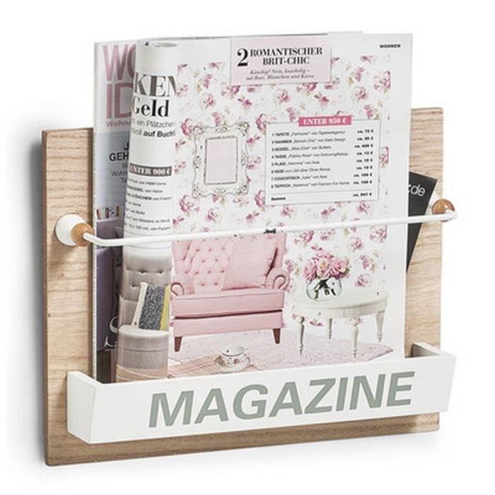 porte revues mural en bois d co vintage zeller nordic. Black Bedroom Furniture Sets. Home Design Ideas