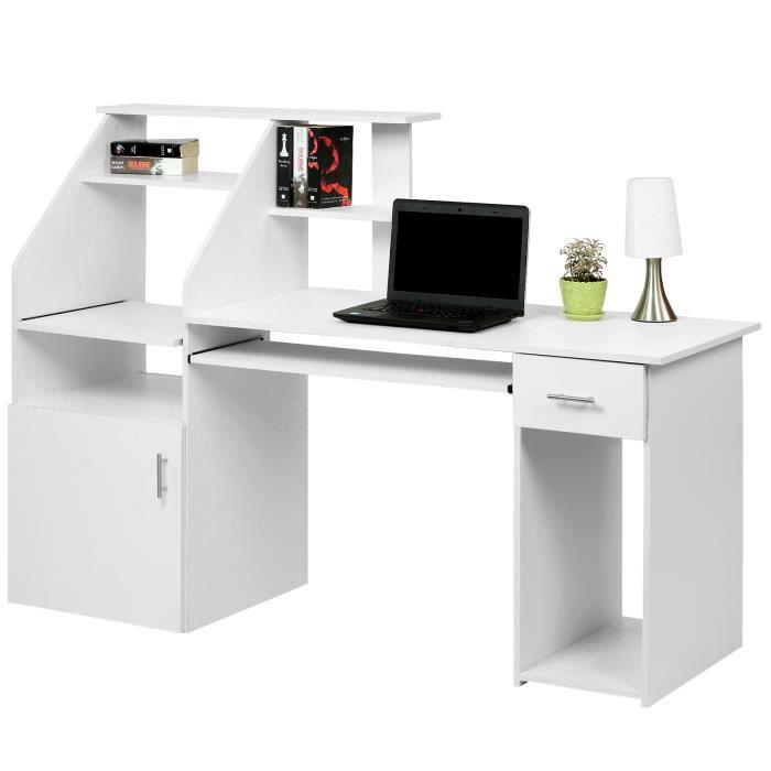 bureau table informatique avec nombreux rangements 164 x 55 x 114 cm achat vente bureau. Black Bedroom Furniture Sets. Home Design Ideas