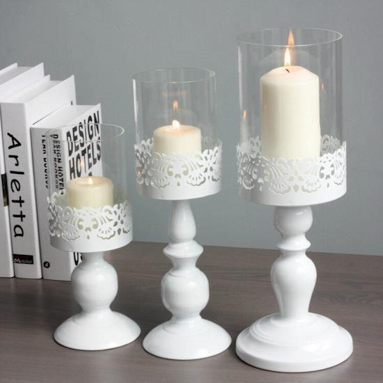 grand bougeoir avec protection verre d coration blanc l gant achat vente bougeoir. Black Bedroom Furniture Sets. Home Design Ideas